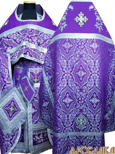 АРТ829. Риза шелк Донской. Комбинированная с вышивкой рисунок Канитель: власяница, окошки епитрахили, низ набедренника.