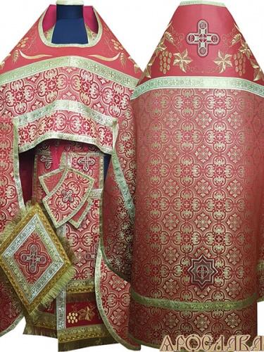 АРТ830. Риза красная шелк Ярослава. Комбинированная с вышивкой рисунок Плетеный: власяница, окошки епитрахили, низ набедренника.