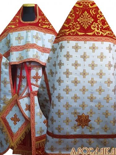 АРТ831. Риза красная парча Святительский. Комбинированная с вышивкой рисунок Греческий: власяница, окошки епитрахили, низ набедренника.
