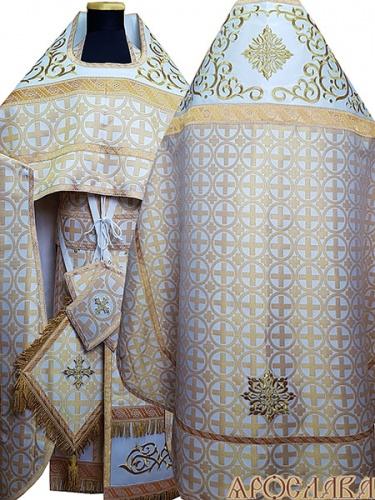 АРТ832. Риза белая с золотом парча Мирон. Комбинированная с вышивкой рисунок Византийский: власяница, окошки епитрахили, низ набедренника.