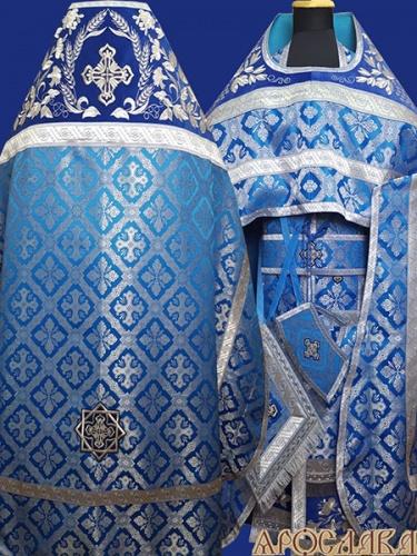 АРТ833. Риза голубая с серебром парча Канон. Комбинированная с вышивкой рисунок Корнилий: власяница, окошки епитрахили, низ набедренника.