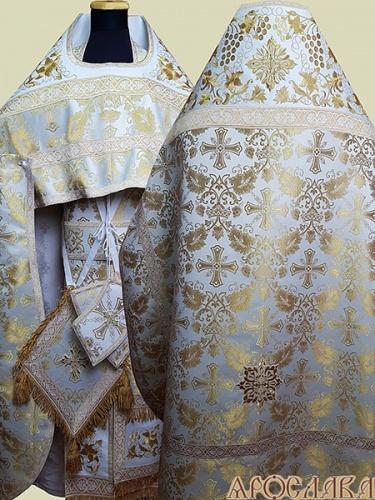 АРТ834. Риза белая с золотом парча Курский. Комбинированная с вышивкой рисунок Элегия: власяница, окошки епитрахили, низ набедренника.