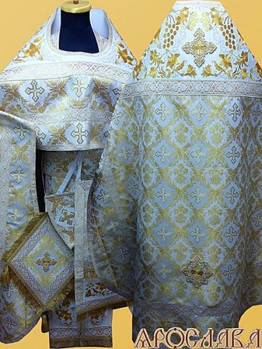 АРТ837. Риза белая с золотом парча Рождество. Комбинированная с вышивкой рисунок Элегия: власяница, окошки епитрахили, низ набедренника.