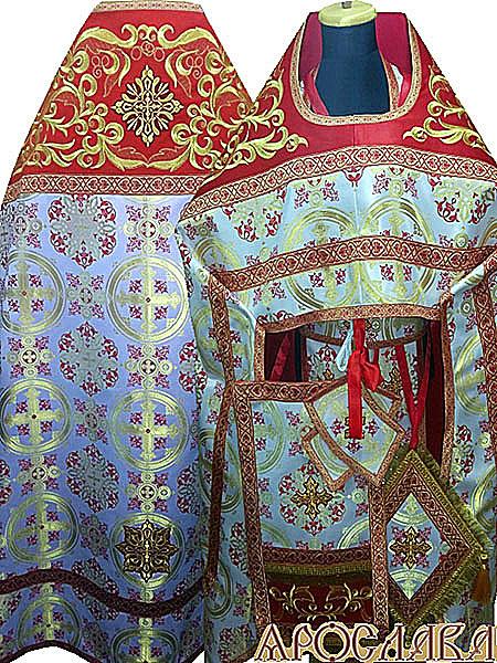 АРТ838. Риза красная шелк Волынский. Комбинированная с вышивкой рисунок Греческий: власяница, окошки епитрахили, низ набедренника.