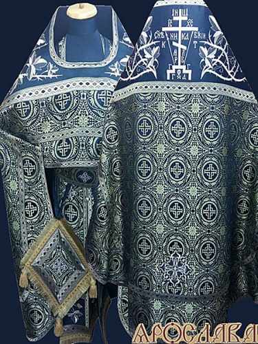 АРТ840. Риза шелк Коринф. Комбинированная с вышивкой рисунок Терновый венец увеличенный: власяница, окошки епитрахили, низ набедренника.Вышитая Голгофа.