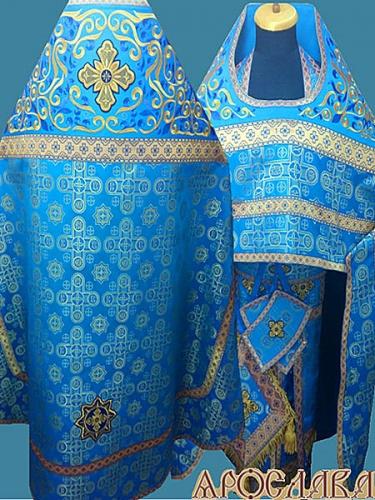 АРТ843. Риза голубая с золотом шелк Вифлеем. Комбинированная с вышивкой рисунок Аксиос: власяница, окошки епитрахили, низ набедренника.
