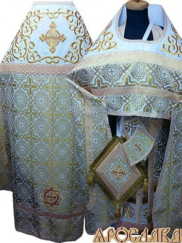 АРТ844. Риза белая с золотом шелк Златоуст. Комбинированная с вышивкой рисунок Византийский: власяница, окошки епитрахили, низ набедренника.