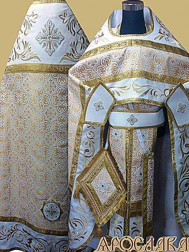 АРТ845. Риза белая с золотом парча Ярославна. Комбинированная с вышивкой рисунок Алтайский: власяница,надставка, окошки епитрахили, низ набедренника.Пояс и поручи однотонные.