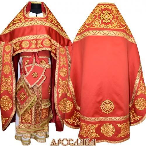 АРТ847. Риза красная вышитая рисунок Параскева. Вышитая:власяница, надставка, окошки епитрахили, низ набедренника.