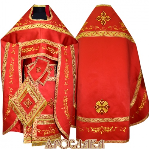 АРТ848. Риза красная вышитая рисунок Благородный. Вышитая:власяница, надставка, окошки епитрахили, низ набедренника.