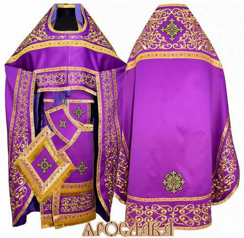 АРТ852. Риза фиолетовая вышитая рисунок Параскева. Вышитая:власяница, надставка, окошки епитрахили, низ набедренника.