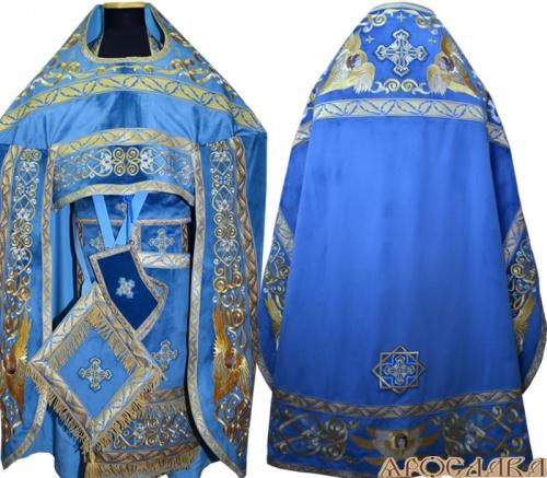 АРТ856. Риза голубая вышитая рисунок Эдем. Вышитая:власяница, надставка, окошки епитрахили, низ набедренника.