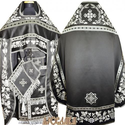 АРТ861. Риза черная вышитая рисунок Канитель. Вышитая:власяница, надставка, внутри фелони, окошки епитрахили, низ набедренника.