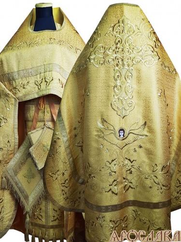 АРТ862. Риза желтая вышитая рисунок Августовский с большим крестом. Вышитая:власяница, надставка, внутри фелони,окошки епитрахили, низ набедренника.Епитрахиль украшена кистями.