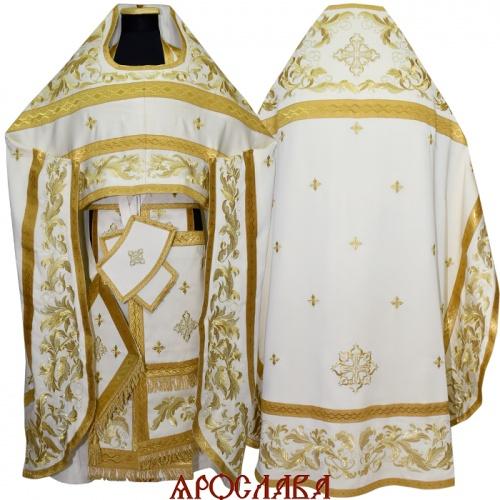 АРТ863. Риза белая с золотом вышитая рисунок Листовой. Вышитая:власяница, надставка, окошки епитрахили, низ набедренника. Мелкие крестики вышитые по всему облачению.