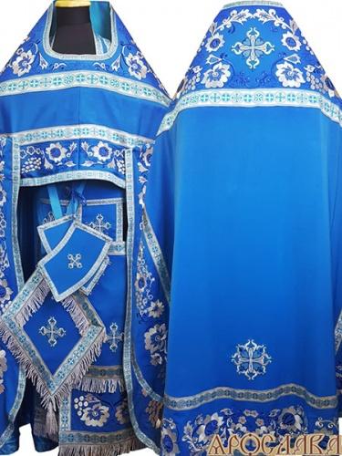 АРТ864. Риза голубая вышитая рисунок Кострома. Вышитая:власяница, надставка, окошки епитрахили, низ набедренника.