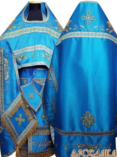 АРТ865. Риза голубая вышитая рисунок Благородный. Вышитая:власяница, надставка, окошки епитрахили, низ набедренника.