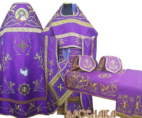 АРТ869. Комплект богослужебный, фиолетовый вышитый Терновый венец. С иконой Спаситель в терновом венце.