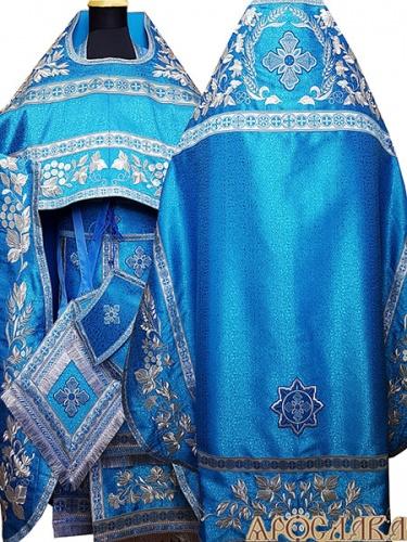 АРТ871. Риза голубая с cеребром вышитая рисунок Корнилий. Вышитая:власяница, надставка, окошки епитрахили, низ набедренника.