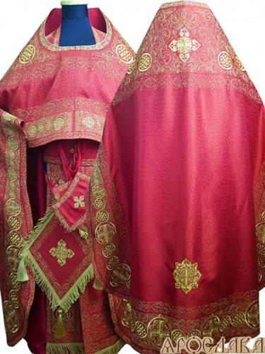 АРТ873. Риза красная вышитая рисунок Петровский. Вышитая:власяница, надставка, окошки епитрахили, низ набедренника. Галун на облачение вышитый.