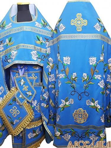 АРТ876. Риза голубая вышитая рисунок Лилия с каллами. Вышитая:власяница, надставка, внутри фелони, все мелкие детали.