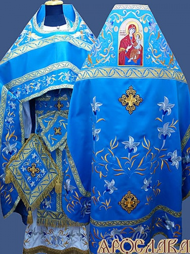 АРТ883. Риза голубая вышитая рисунок Лилия Мария. Вышитая:власяница, надставка, внутри фелони,все мелкие детали. Икона Скоропослушница грешных.