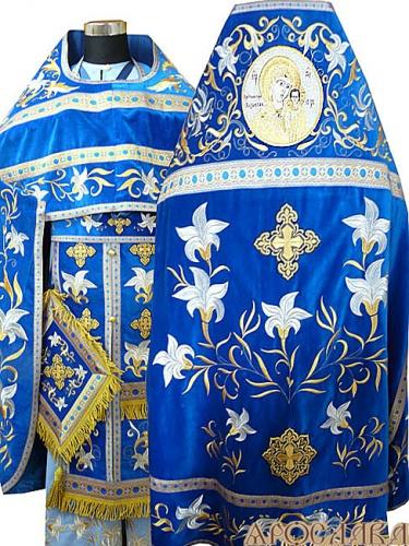 АРТ892. Риза голубая  вышитая рисунок Лилия Мария. Вышитая:власяница, внутри фелони,надставка,все мелкие детали. Икона  Казанская Божия Матерь.