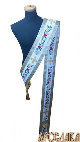 АРТ920. Протодиаконский орарь белый с вышивкой Маки, отделка цветной галун (белый с золотом).