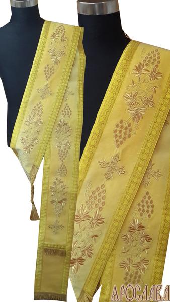 АРТ924. Протодиаконский орарь желтый,с вышивкой рисунок Виноградная лоза, отделка цветной галун (цвет золото).