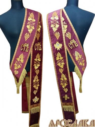 АРТ925. Протодиаконский орарь бордовый,с вышивкой рисунок Виноградная лоза, Святы, херувимы, отделка цветной галун (красный с золотом).