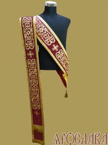 АРТ926. Протодиаконский орарь бордовый с вышивкой Древо жизни, отделка цветной галун (цвет золото).
