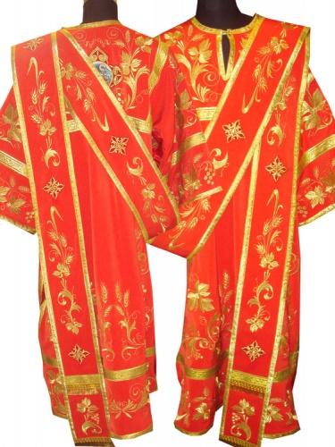 АРТ932. Протодиаконское облачение красное с вышивкой рисунок Богатый увеличенный, отделка цветной галун (цвет золото). Вышитый: кокетка, верх и низ рукава,внутри и низ платья, орарь. Икона на выбор заказчика.