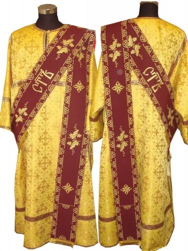 АРТ933 . Протодиаконский  облачение желтый шелк. Орарь бордовый с вышивкой Виноград и Святы, галун вышитый.