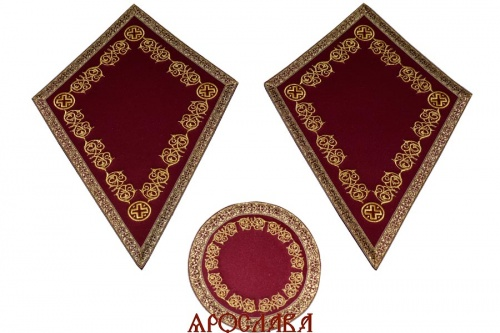 АРТ939. Платы под кресты и лампаду вышитые Казачий, с галуном в цвет вышивки.