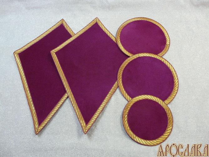 АРТ941. Платы под кресты, лампаду, подсвечники, с галуном в цвет ткани.