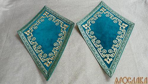 АРТ942. Платы под кресты вышитые Византийский, с галуном в цвет вышивки.