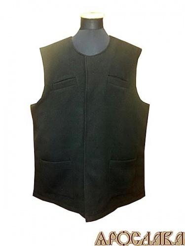 АРТ992. Жилет черный утепленный, два нижних накладных кармана, два нагрудных прорезных кармана, потайная застежка, утепленный синтепоном.