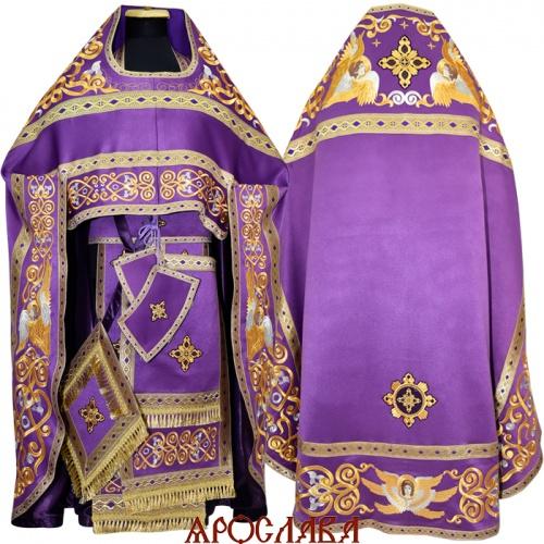 АРТ1007. Риза фиолетовая вышитая рисунок Эдем. Вышитая:власяница, надставка, окошки епитрахили, низ набедренника.