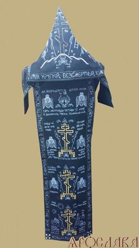 АРТ1079.Схима монашеская, вышитая белым шелком с золотом.Ткань черная двунитка.