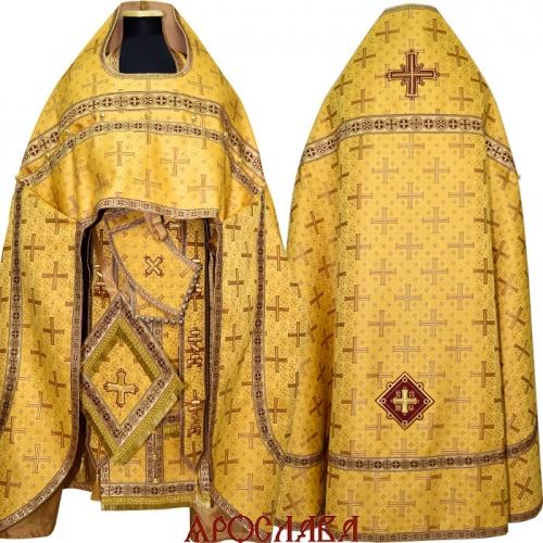 АРТ1176. Риза старообрядческая, желтый  шелк Афон, отделка цветной галун (золото с бордо).