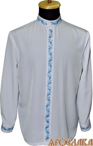 АРТ1213. Косоворотка белый мокрый шелк,потайная застежка. Ворот стойка. Вышивка шелком: ворот, планка, манжеты.