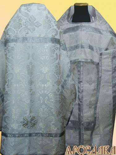 АКЦИЯ. АРТ1355. Риза белая с серебром парча Жар-птица.
