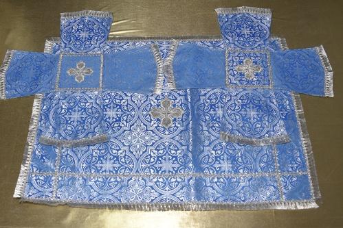 АРТ1529. Покровцы голубой с серебром шелк, отделка тесьма, бахрома. Чаша 1 литр