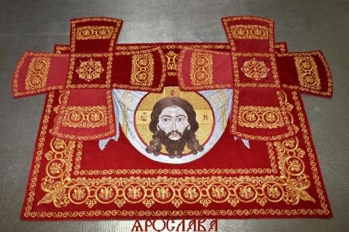 АРТ1547. Покровцы вышитые Русский Афон. Вышитая икона Спас на убрусе.