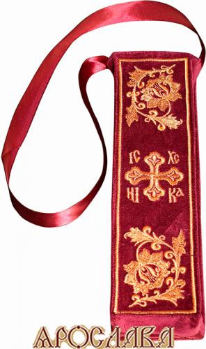 АРТ326. Чехол для лжицы с вышивкой. Ткань бордовый бархат. Размеры 25*7