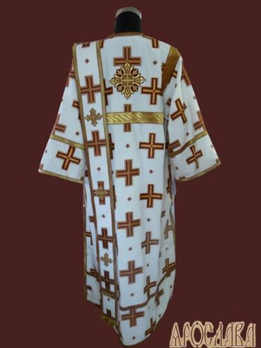 АРТ450. Диаконское облачение белый с красными крестами, греческий шелк Прямой крест, отделка цветной галун (бордовый с золотом).