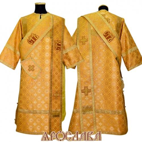АРТ899. Протодиаконское облачение желтый шелк Мирликийский крест мелкий, отделка цветной галун (цвет золото). На ораре  вышитые три Свята.