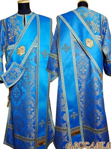 АРТ931. Протодиаконское облачение голубой с золотом шелк Коломенский, комбинированное с вышивкой рисунок Плетеный. Вышитая:  кокетка, на ораре херувимы. Отделка цветной галун (голубой с золотом).