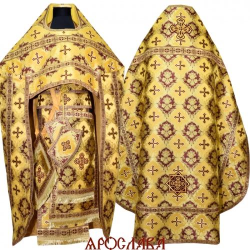 АРТ1006.Риза желтая с бордо парча Рождество, отделка цветной галун (бордовый с золотом).