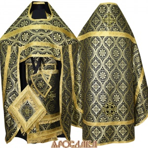 АРТ105. Риза черная с золотом шелк Византийские кресты,обыденная отделка (галун цвет золото)